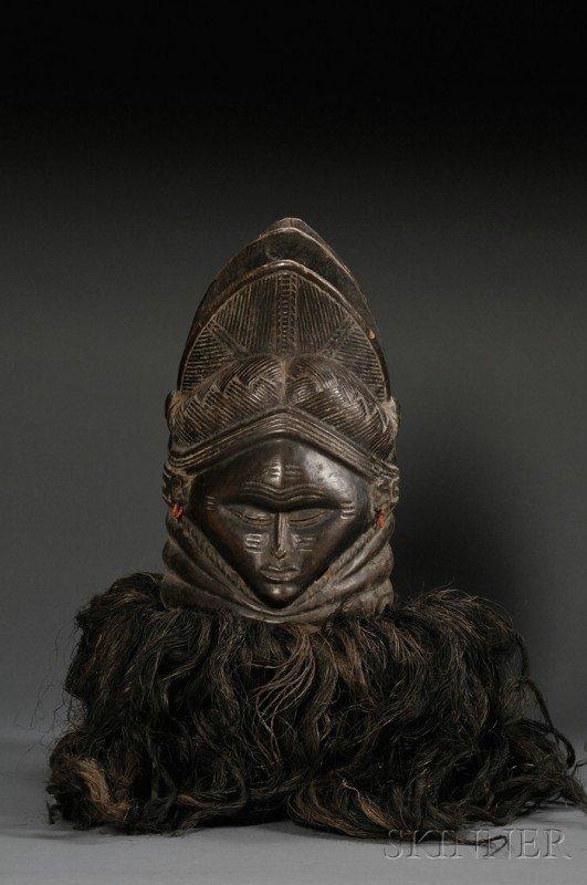 213: Mende Bundu Helmet Mask, Sande Society, with fat r