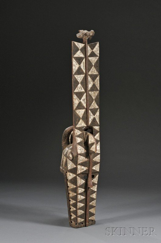 216: African Polychrome Carved Wood Mask, Bobo, a plank