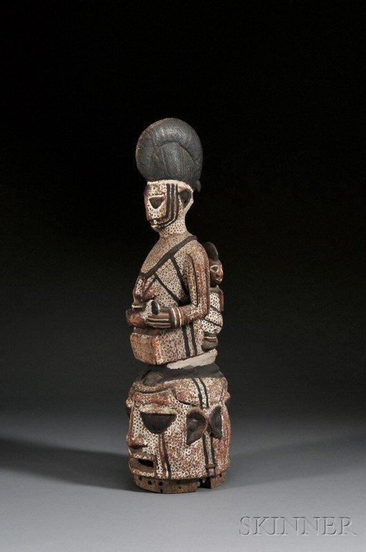 217: African Polychrome Carved Wood Helmet Mask, Yoruba