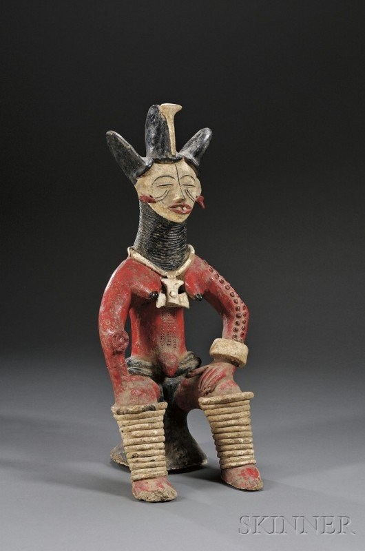 219: African Polychrome Pottery Figure, Nigeria, Ibo, s