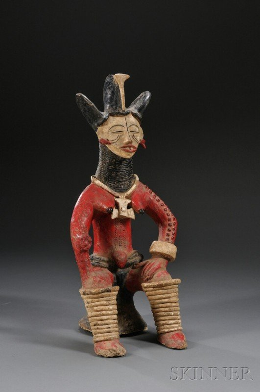 219: African Polychrome Pottery Figure, Nigeria, Ibo, s - 2