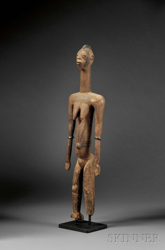 220: African Carved Wood Female Figure, Mossi, standing