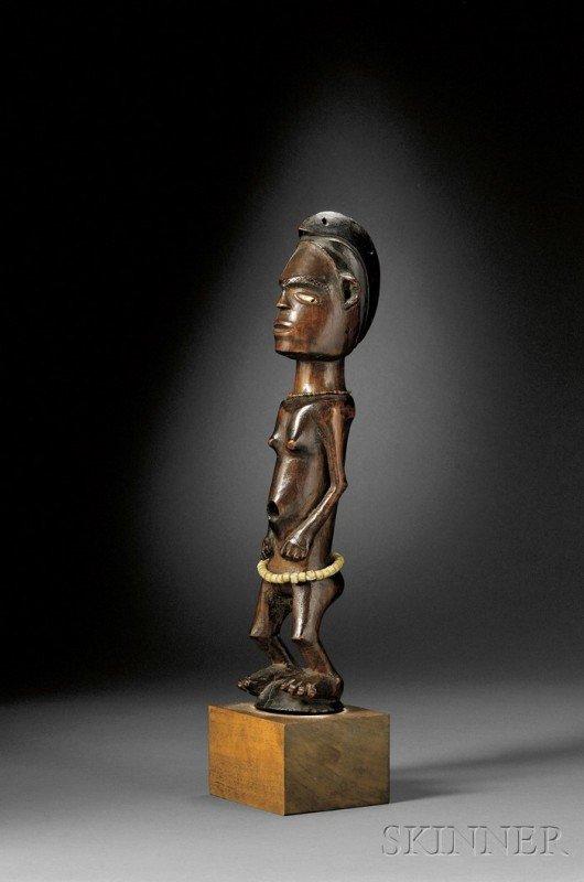 221: African Carved Wood Female Figure, Punu or Lumbo,