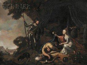 French School, 18th Century Chivalric Scene Unsign