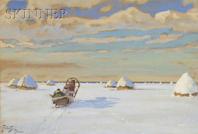451: Julian Falat (Polish/Austrian, 1853-1929) Snowy Ha