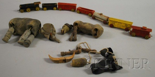 1: Group of Wooden Toy Trains and Marionettes, includin