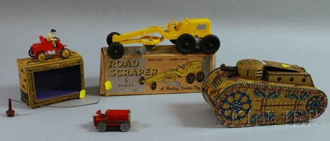 5: Four Tin Toy Vehicles, a Hubley Road Scraper in orig