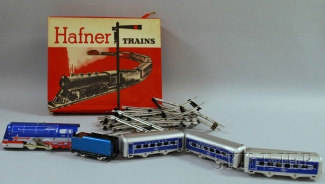 6: Hafner Wind-up Tin Locomotive Train Set, America, mi
