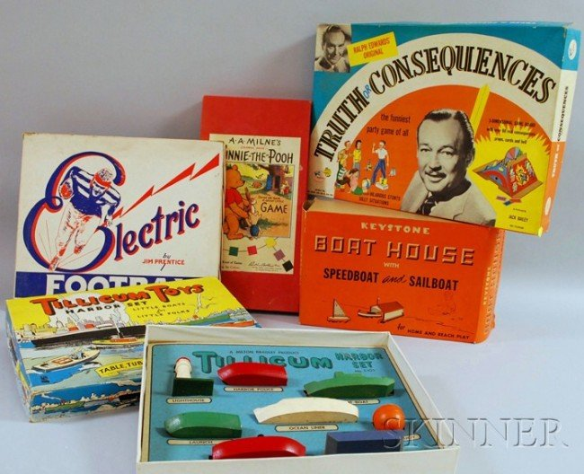 9: Five Board Games and Models, c. mid-20th century, a
