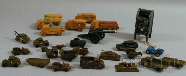 11: Group of Plastic, Lead, and Wood Toys and Vehicles,
