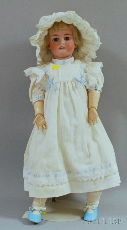 19: Large German Bisque Head Doll, impressed DEP German