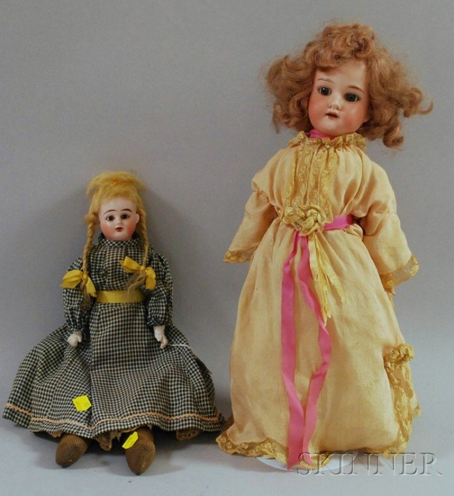 22: Two German Bisque Dolls, one shoulder head, impress