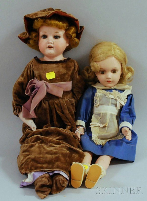 23: Armand Marseille Bisque Shoulder Head Doll and a Co