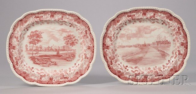 155: Two Large Wedgwood Red and White Harvard Universit
