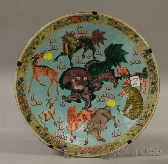 336: Chinese Porcelain Charger, with dragon, horse, dee