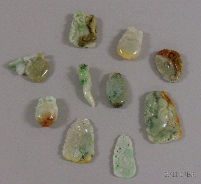 501: Ten Carved Jade Pendants and Other Items, of vario