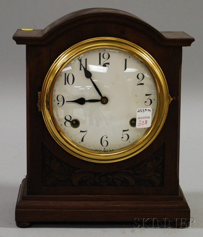 508: Mantel Clock by Seth Thomas, white enamel dial wit