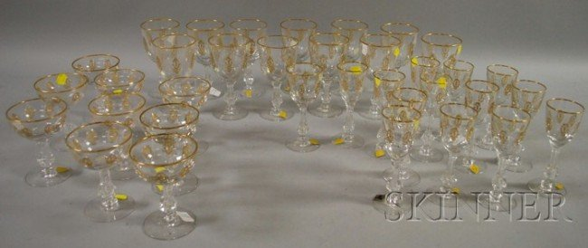516: Thirty-seven Piece Set of Tiffin Gilt Colorless Cu