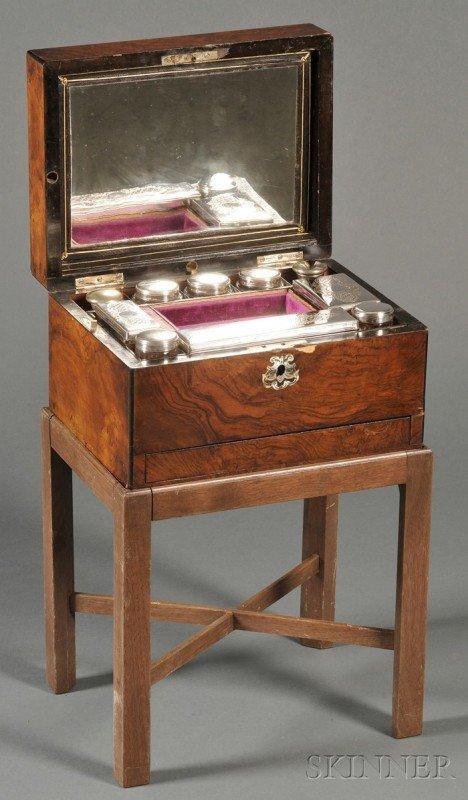 517B: Victorian Burl Walnut Vanity Case on Stand, the c