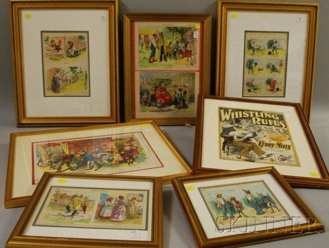 518: Nine Framed 19th Century Newspaper and Magazine Bl