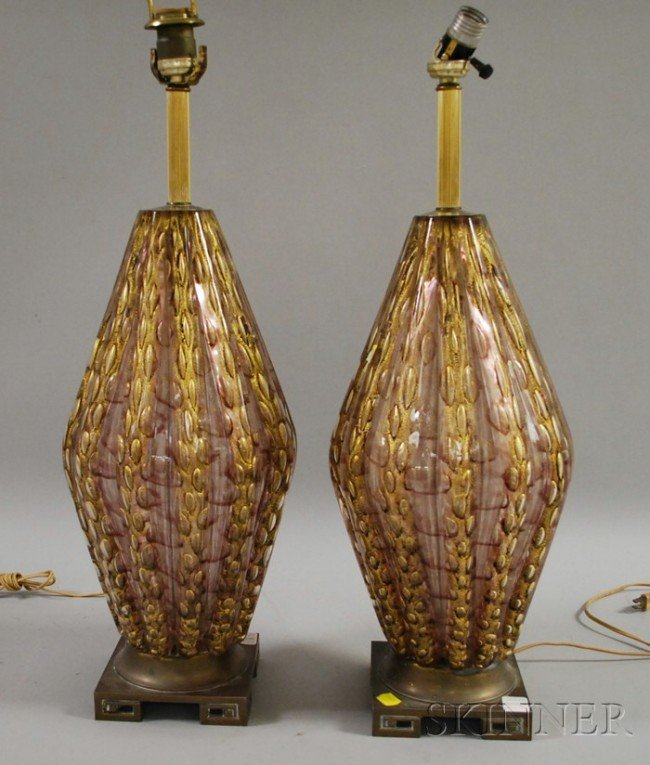 602: Pair of Venetian Art Glass Table Lamps, pale ameth