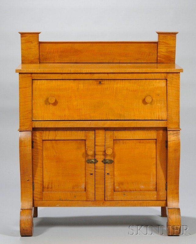 763: Empire Tiger Maple Sideboard, overall ht. 53 3/4,