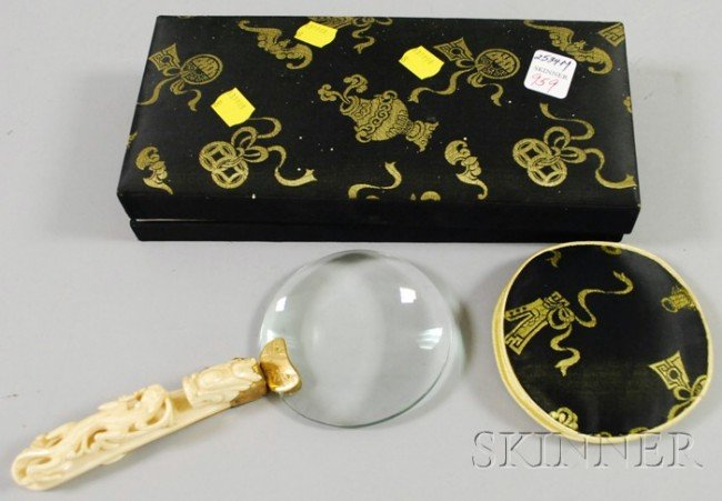 959: Chinese Carved Ivory-handled Magnifying Glass, for