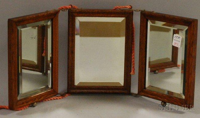 502: Small Late Victorian Oak Three-part Folding Mirror