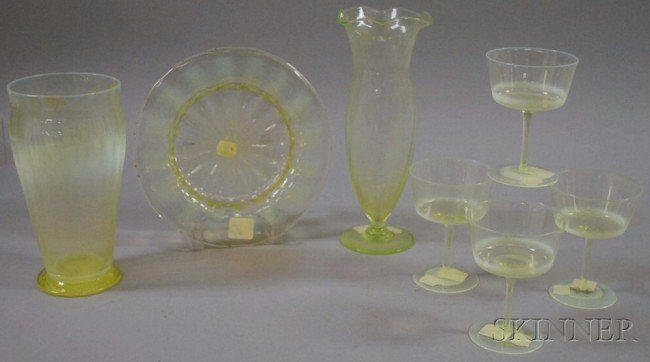 504: Seven Opalescent Art Glass Stemware and Table Item