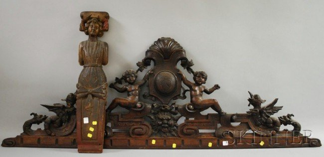505: Renaissance-style Carved Walnut Figural Cornice an