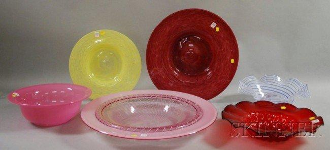 507: Six Large Modern Art Glass Bowls, including studio