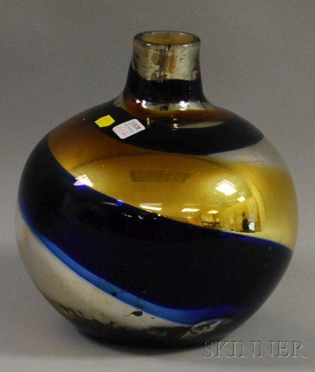 512: Mercury and Colored Blown Glass Demijohn-form Vess
