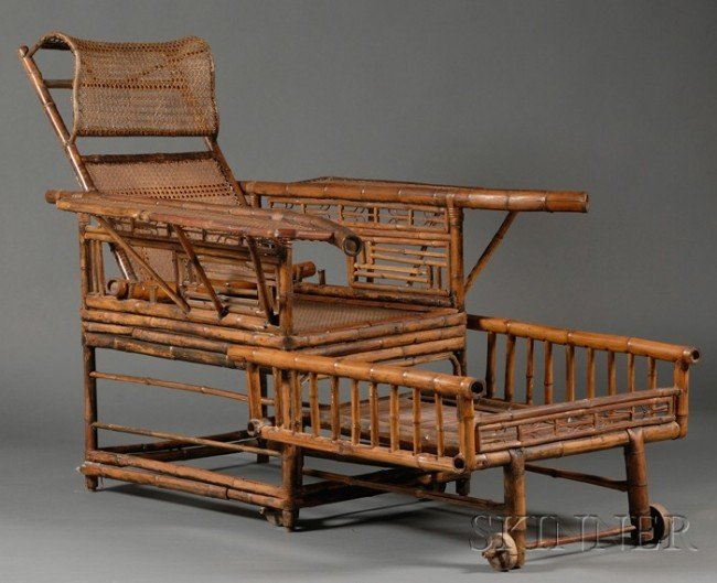 514: Chinese Adjustable Bamboo Armchair, with caned bac