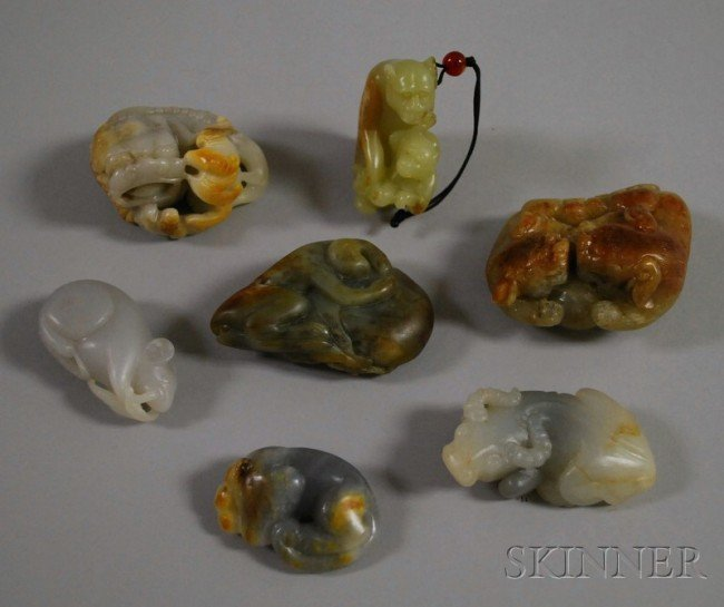 517: Seven Chinese Carved Jade Pendants and Figures, in
