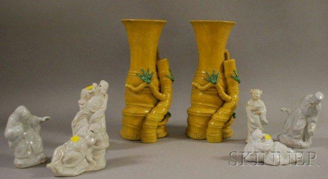 519: Set of Six Chinese White Glazed Molded Porcelain F