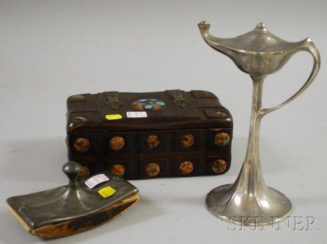 521: Kayserzinn Art Nouveau Pewter Oil Lamp, Art Nouvea