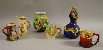 812 Six Assorted Late Victorian Decorated Ceramic and