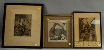 899 Three Framed Works on Paper a Helen Stiegl woodbl