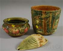 1058 Two Pieces of Weller Pottery and a Roseville Pott