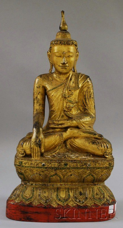 1159: Asian Giltwood Seated Buddha Figure, with inset-g