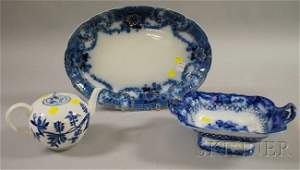 1371: Three Blue and White Porcelain Items, an English
