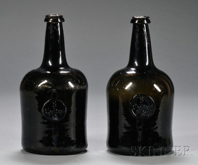"""38: Two Olive-Amber Blown Glass Wine Bottles with """"S Co"""