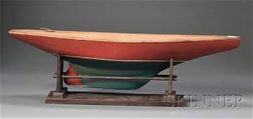 245: Red- and Green-painted Wood Pond Boat Model, Ameri