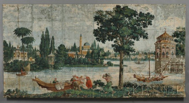 """389: Polychrome-painted Wallpaper Mural """"On the Banks o"""