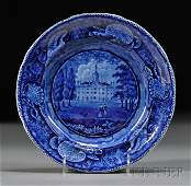 515: Blue Transfer-decorated Staffordshire Pottery Plat