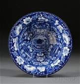 526: Blue Transfer-decorated Staffordshire Pottery Beeh