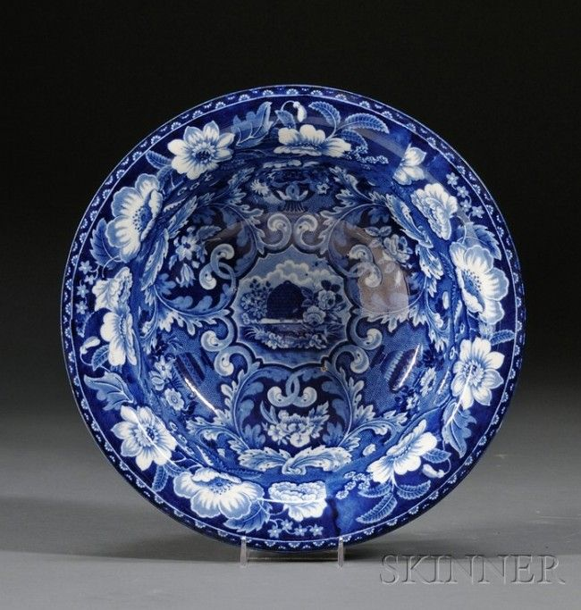 Blue Transfer-decorated Staffordshire Pottery Beeh