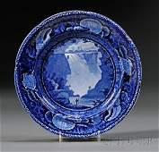 534: Blue Transfer-decorated Staffordshire Pottery Plat