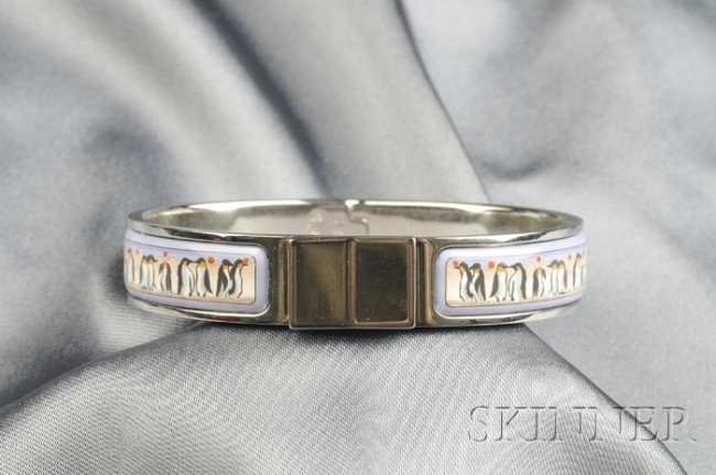 1: Stainless Steel Bracelet, Hermes, the hinged form wi