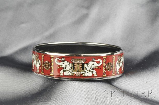 2: Polychrome Enamel Bangle, Hermes, depicting elephant